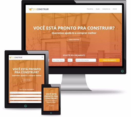 site PraConstruir mostrado na tela do pc, no tablet e no celular
